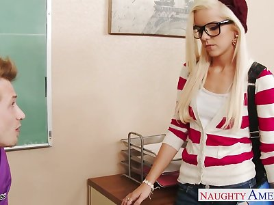 Young pretty crammer fucks starved nerdy student in glasses Halle Von
