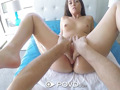 Spreading legs quite wide flexible hottie Shane Blair is poked missionary