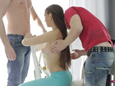 Amazing chick Margarita C Peachy goes nuts as she crazily works on two dicks