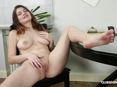 Pretty Erika C can't wait to put black dildo in her wet pussy