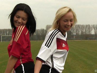 Naomi Nevena and Vanessa Decker enjoy lesbian sex on the ground