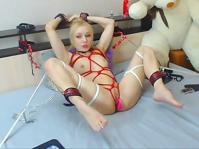 Butt Plugged Blonde Teen In Solo Performance