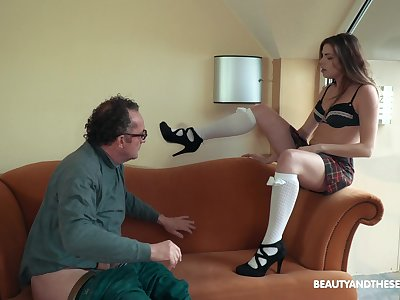 Teen secretary Sarah Smith pounds her older boss at the office