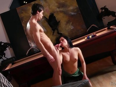 Eating out his young girlfriend and fucking her hard
