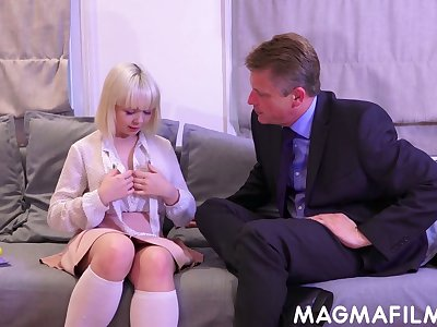 Slutty blonde unsubtle Cherry English is a good cock sucker increased by titjob guru