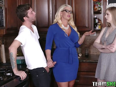 Young dude will never forget crazy triptych sex with girlfriend and her personify mother Alura Jenson