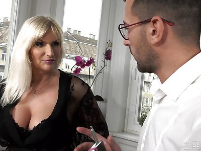 Busty age-old rich woman Anna Valentina gets initiate with young gigolo