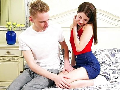 Russian young couple deficient keep your classic carnal knowledge in eradicate affect bedroom...