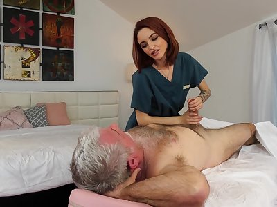 Pensioner enjoys fucking red-hot haired young masseuse Hanna Hayes