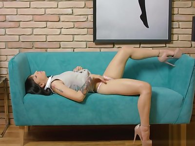 Alluring girl pleasures covetous pussy until she is tourist