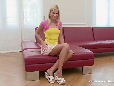 Small pair blondie Tracy Gold takes off her panties to masturbate
