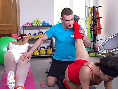 Jade Presley and another hot cooky hook up up their hunky instructor
