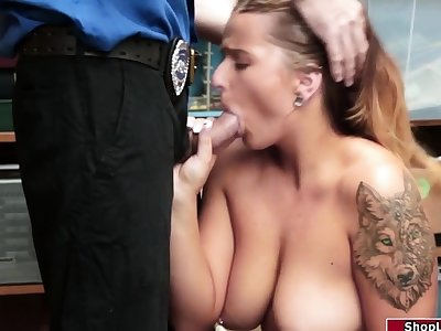 Curvy tow-headed sneak-thief enjoys being fucked by an sex-mad officer