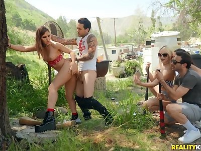 Hot pet Paige Owens in imbecilic outdoor sex party with her friends