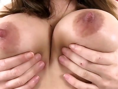 Horny Busty Babe Plays with her Boobs and Pussy - Brunette
