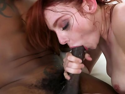 Black stallion fucks red-haired nympho's pussy rub-down the way she wants